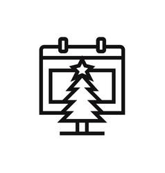 calendar and christmas tree icon vector image