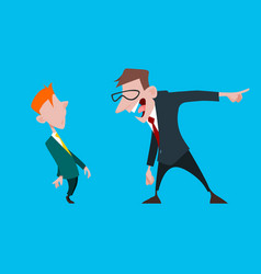 cartoon male boss yells at a subordinate employee vector image