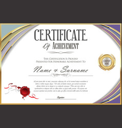 certificate with golden seal and colorful design vector image