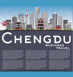 Chengdu skyline with gray buildings blue sky and vector