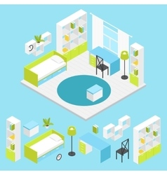 Children Room Composition In Isometric vector image