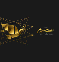 Christmas and new year 3d gold dove bird banner vector