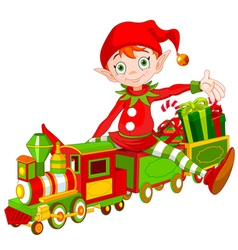 Christmas Elf and Toy Train vector