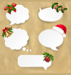 christmas speech bubble set with old paper vector image