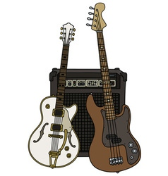 Classic and bass electric guitars with the combo vector
