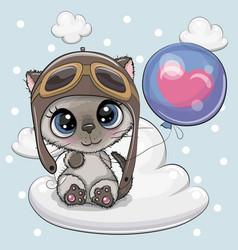 cute cartoon kitten boy with balloon vector image