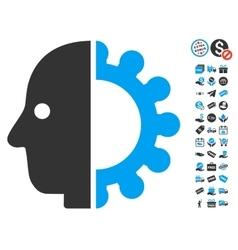 Cyborg Head Icon With Free Bonus vector