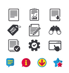 Document icons download file and checkbox vector
