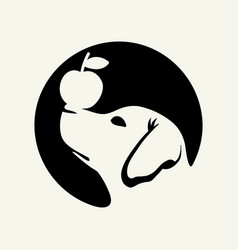 Dog and apple simple logo design vector