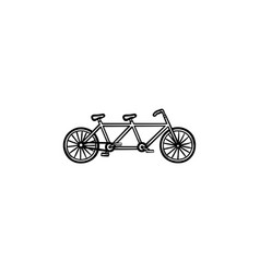 double bicycle hand drawn outline doodle icon vector image