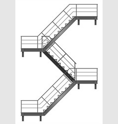 Drawing of the fire escape for the facade vector
