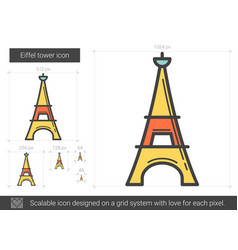 eiffel tower line icon vector image