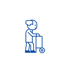 elderly person with help wheels line icon concept vector image