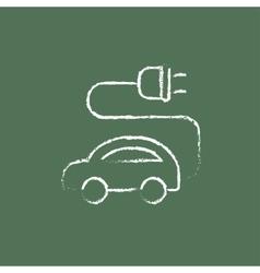 Electric car icon drawn in chalk vector