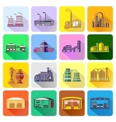 Factory icons set in flat style vector image