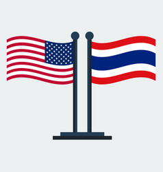 Flag of united states and thailandflag stand vector