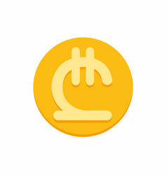 georgian lari currency symbol on gold coin vector image