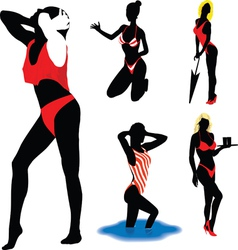 Girl silhouettes beach vector image