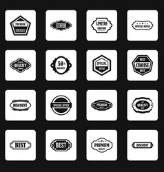 Golden labels icons set squares vector