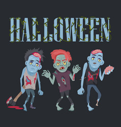 Halloween with zombies on vector