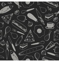 hand drawn doodle food seamless patterns vector image