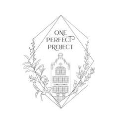 Hand drawn line art old house in frame vector