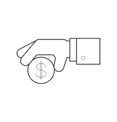 Hand giving penny line icon vector