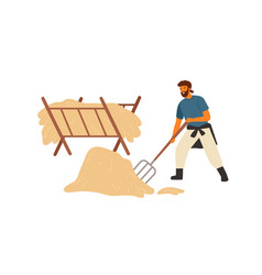 happy farmer peasant or rancher man working with vector image