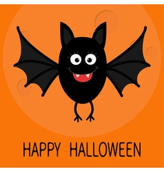 Happy Halloween card Cute cartoon bat flying Big vector