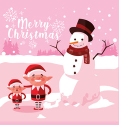helpers santa claus with snowman vector image