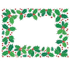Holly christmas frame vector image