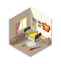 Interior of children bedroom with window vector