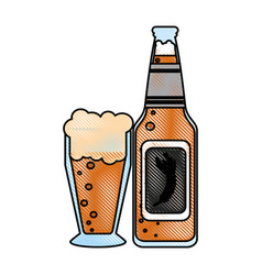 isolated beer bottle and glass design vector image