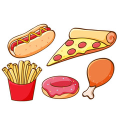 isolated set fast food vector image