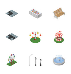 Isometric architecture set of flower decoration vector