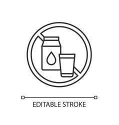Lactose intolerance linear icon vector
