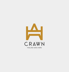 letter aw crown gold initial logo template vector image