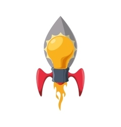 Light bulb rocket start up innovation icon vector