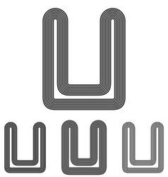 Line u logo design set vector