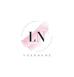 Ln l n watercolor letter logo design vector