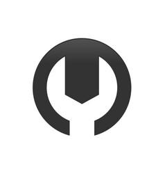 m letter initial mechanic symbol design vector image