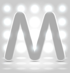 M over lighted background vector
