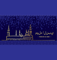Mawlid an nabi prophet birth mosque nabawi one vector