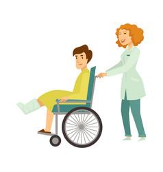Nurse helping patient in wheelchair cartoon vector