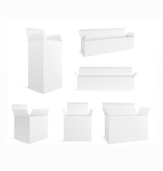 open realistic box white carton opening boxes vector image