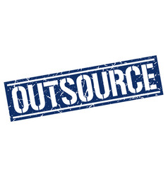 Outsource square grunge stamp vector