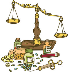 pharmaceutical scales and pills vector image