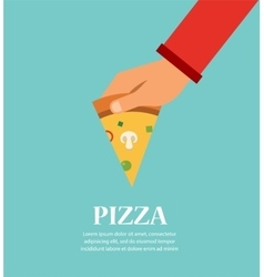 Piece Of Pizza In a Hand template for pizzeria vector image