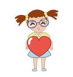 Pretty girl with heart and glasses vector