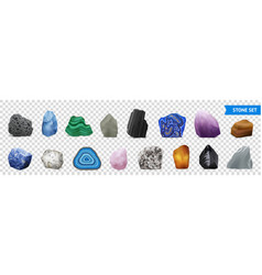 realistic stone transparent icon set vector image